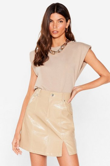Beige Faux Leather Croc Slit Mini Skirt