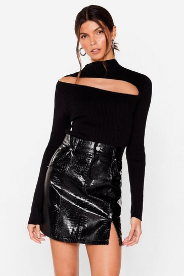 Black Slit Back Hard Faux Leather Croc Skirt