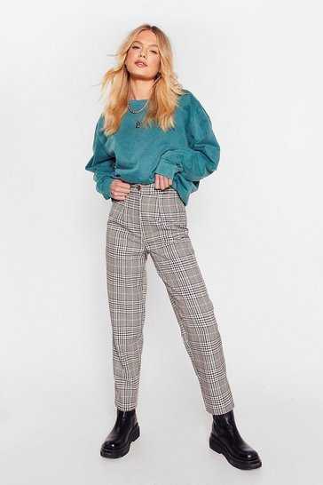 Light brown Taper Us Back Plaid High-Waisted Pants