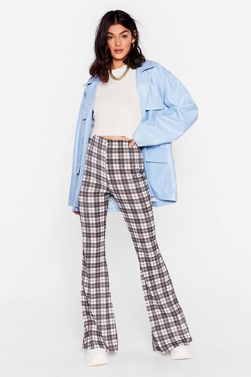 Mono Check On Board With It High-Waisted Flare Pants
