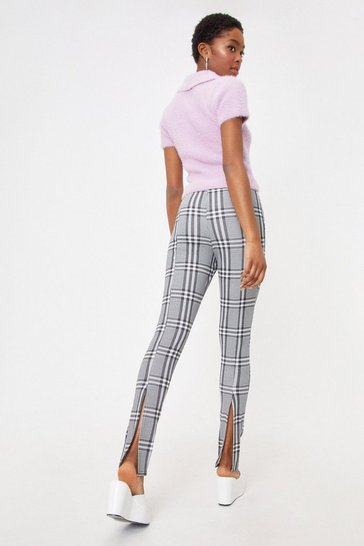 Mono Check Slit High Waisted Trousers