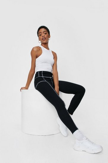 Black High Waisted Contrast Stitch Detail Leggings