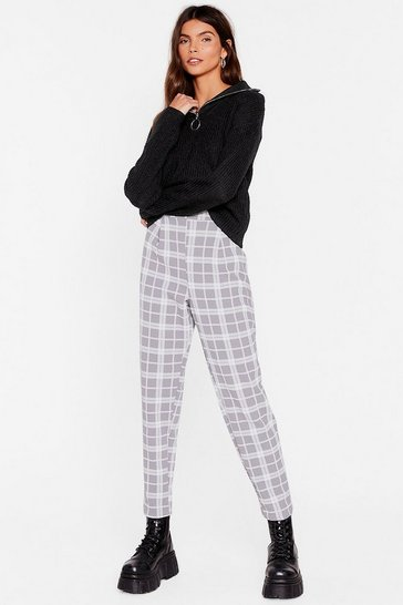 Grey Check Me Out High-Waisted Tapered Pants