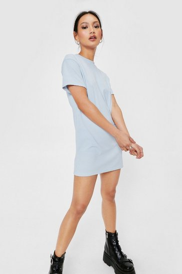 Blue Petite Ribbed T-Shirt Mini Dress