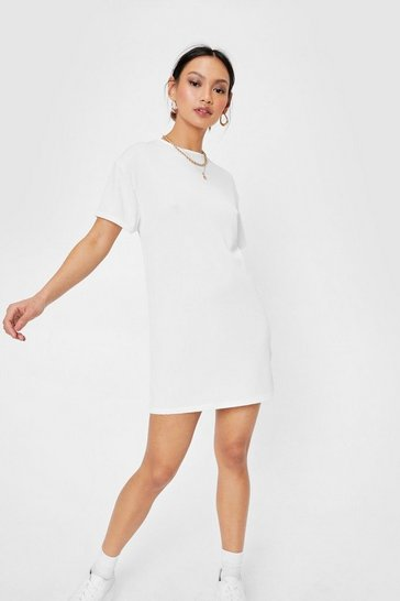 Ivory Petite Ribbed T-Shirt Mini Dress