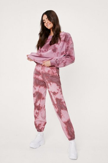 Pink Petite Tie Dye Sweatpants Loungewear Set