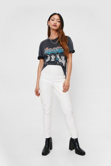White Petite Faux Leather High Waisted Pants