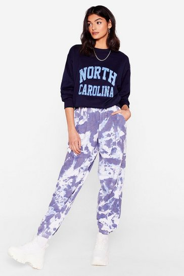 Blue Tie Dye Do You Care High-Waisted Joggers