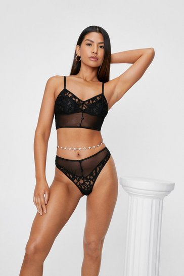 Black Mesh Lace Bralette and High Leg Panty Set