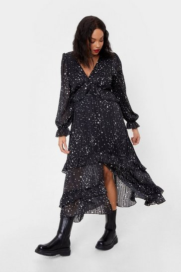 Black We've Came This Star Plus Ruffle Midi Dress