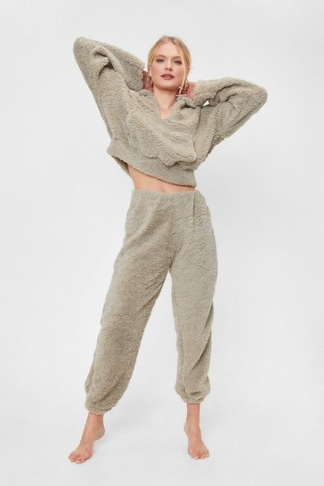 Stone We Faux Fur Gonna Go High-Waisted Joggers