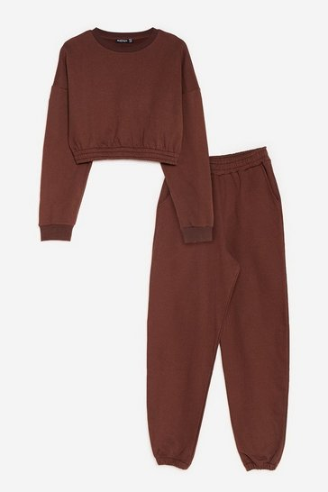 Brown Have It Easy Sweatshirt and Joggers Lounge Set