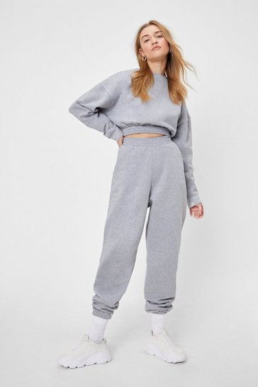 Grey marl Have It Easy Sweatshirt and Joggers Lounge Set