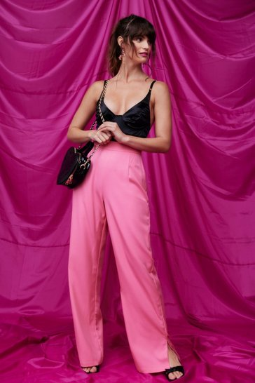 Pink Slit Fast Foward High-Waisted Wide-Leg Pants