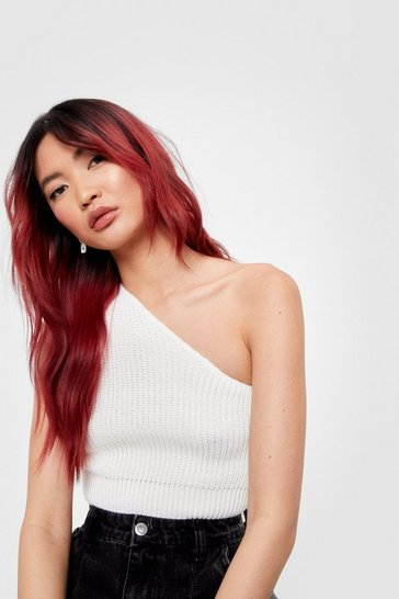 White Break Even One Shoulder Knitted Top