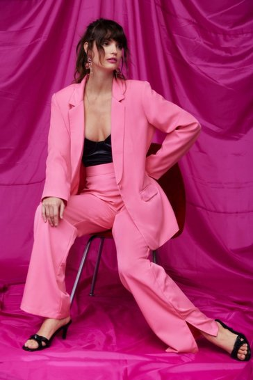 Pink Oversized Tailored Longline Blazer