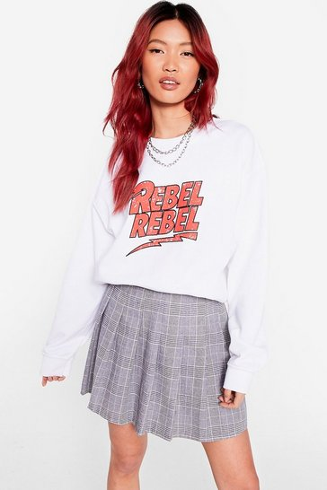 White Rebel Rebel Oversized Graphic Sweatshirt
