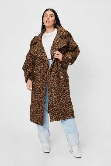 Brown Plus Size Leopard Belted Trench Coat