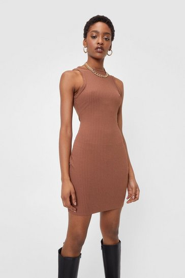 Chocolate Ribbed Fitted Racerback Mini Dress