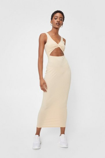 Ecru Ribbed Cut Out Twist Front Midi Dress