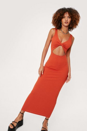 Rust Ribbed Cut Out Twist Front Midi Dress
