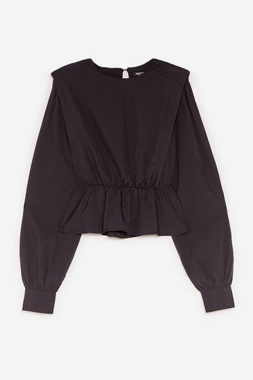 Black Pad It Up to Here Peplum Blouse