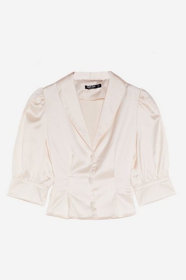 Cream Puff Sleeve It Alone Satin Cropped Blouse