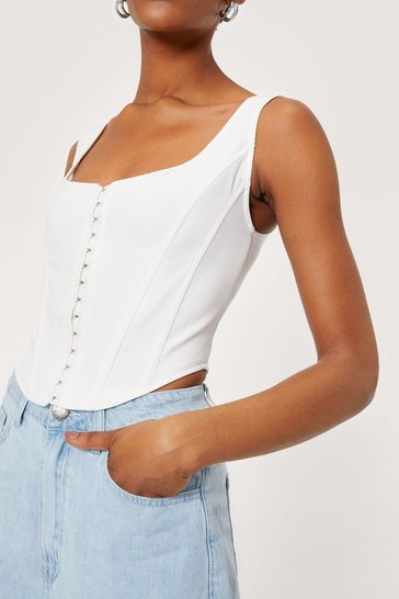 White Let's Hook Up Corset Crop Top