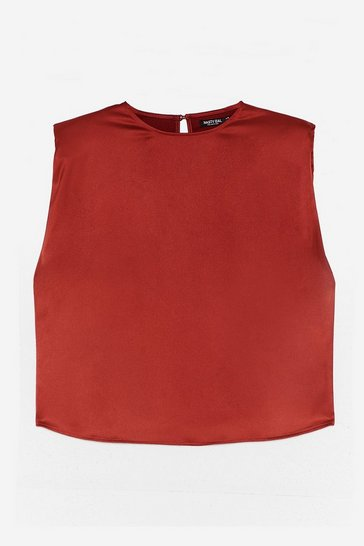 Rust Sleek Havoc Shoulder Padded Satin Crop Top