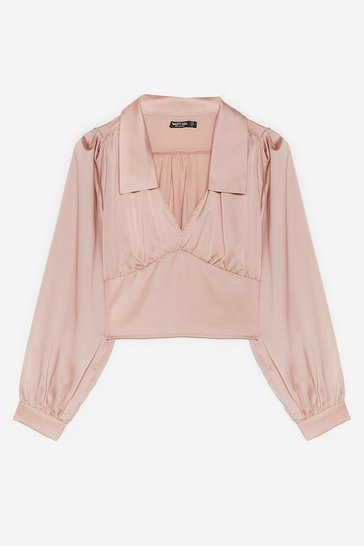 Nude Corset Your Goals Satin Cropped Blouse