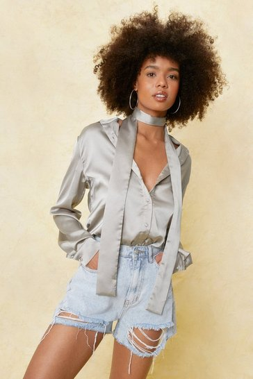 Sage Satin Tie Neck Long Sleeve Shirt