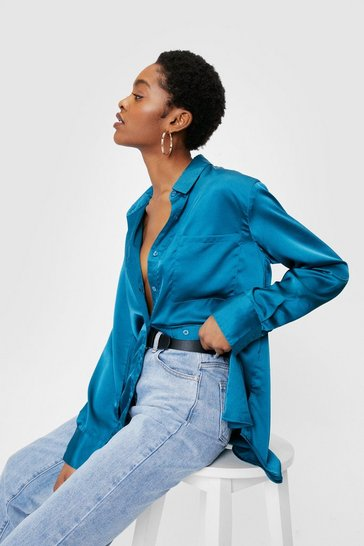 Teal Satin Oversized Long Sleeve Pocket Shirt