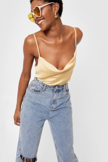 Lemon Spaghetti Strap Cowl Neck Cami Top
