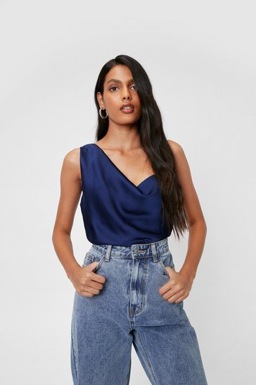 Navy Satin Asymmetric Cami Top