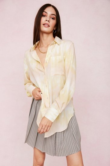 Lemon Soft Oversized Tie Dye Print Shirt