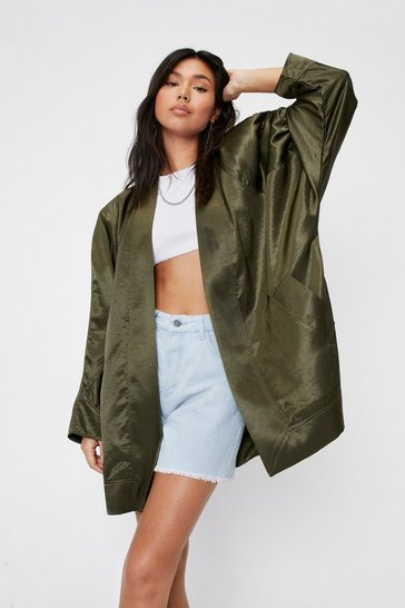 Khaki Oversized Satin Collarless Blazer
