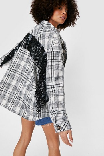 Grey Oversized Check Fringe Jacket