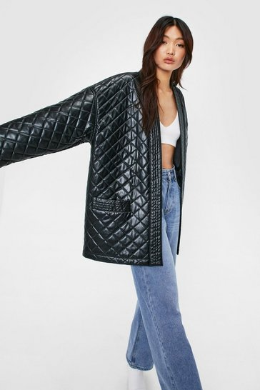 Black Oversized Quilted Longline Collarless Jacket