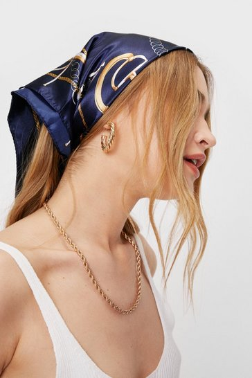 Dark navy Scarf Print Satin Multiway Headscarf