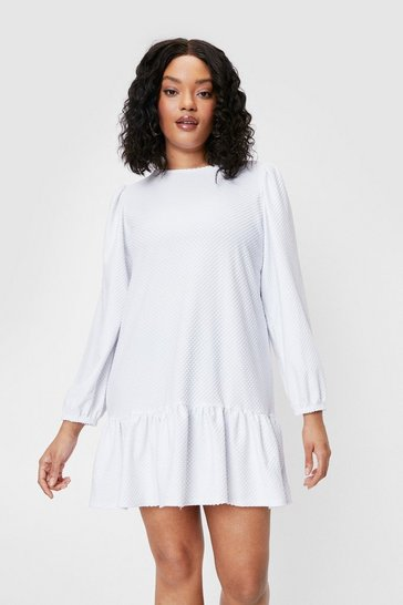 White Frill into You Plus Relaxed Mini Dress