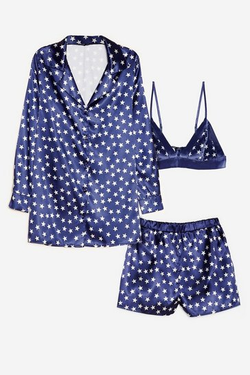 Navy Underneath the Stars 3-Pc Pajama Shorts Set