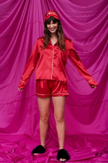 Red Can We Be Lovers Satin 3-Pc Shorts Pajama Set