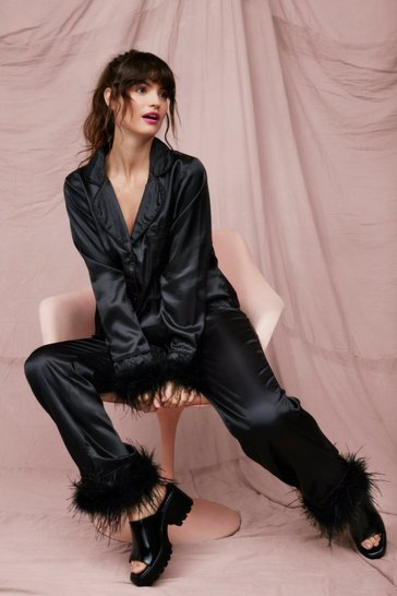 Black Satin Feather Pajama Shirt and Pants Set
