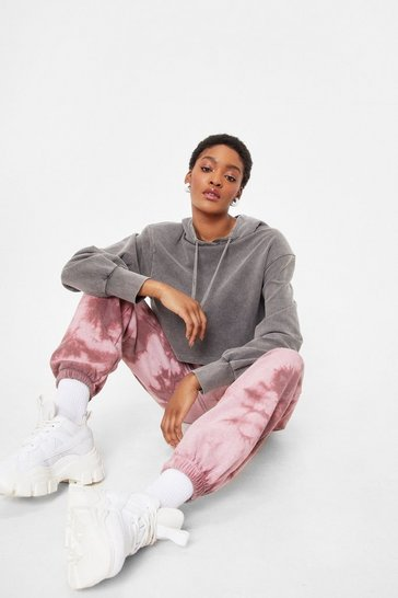 Dusky pink Cutting All Tie Dyes High-Waisted Oversized Joggers