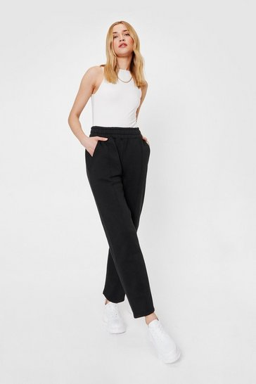 Black Jersey High Waisted Seam Jogger Pants