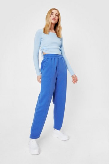 Cobalt Jersey High Waisted Seam Jogger Pants