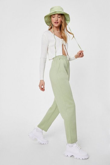 Olive Jersey High Waisted Seam Jogger Pants