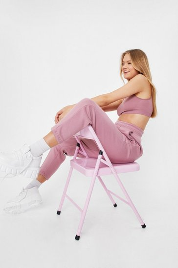 Rose Jersey High Waisted Seam Jogger Pants