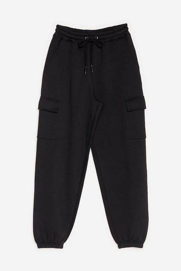 Black High Waisted Cargo Sweatpants