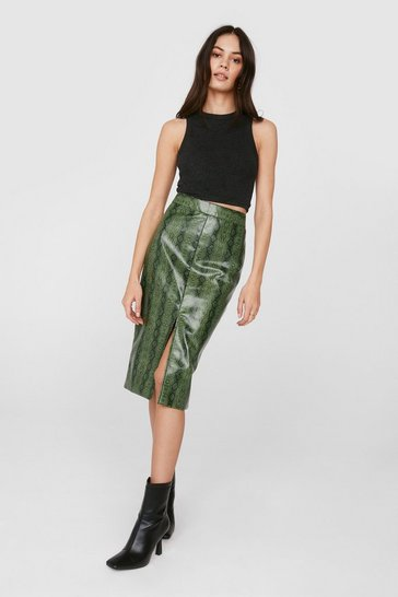 Green Faux Leather Snake Print Slit Midi Skirt